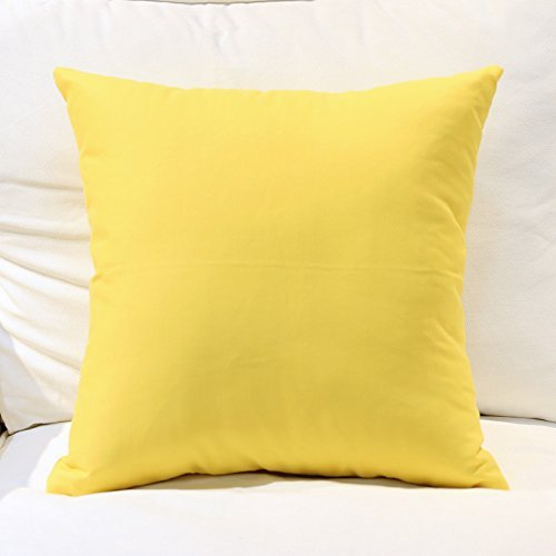Cotton Canvas Rectangle Throw Pillow Decorative Solid Oblong Toss Pillow for Sofa/Bench/Couch, Yellow, 12