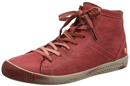 Softinos Womens Isleen Washed Leather Sneaker Boot (P900268013) Red