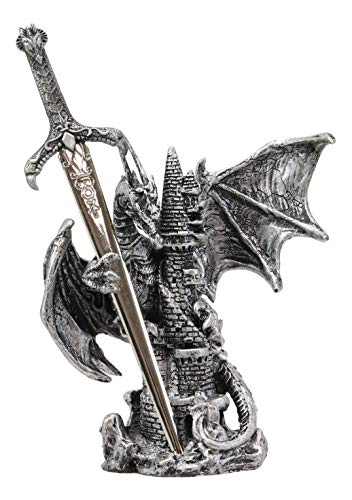 Ebros Gift Legendary Silver Dragon Protecting Castle Tower Letter Opener Figurine Sculpture Home and Office Decorative Sculpture Medieval Renaissance Dungeons and Dragons Fantasy ()