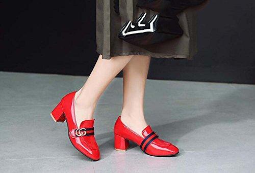 metallo lavoro Scarpe donna con metallo in da in fibbia Scarpe da Rojo Flat wqB6Pq
