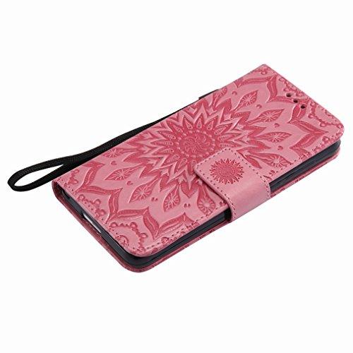 Yiizy Huawei Honor 6 Custodia Cover, Sole Petali Design Sottile Flip Portafoglio PU Pelle Cuoio Copertura Shell Case Slot Schede Cavalletto Stile Libro Bumper Protettivo Borsa (Rosa)