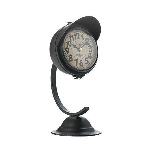 (Galapagoz Vintage Black Standing Desktop Small Metal Rustic Desk Clock Features Bell Shaped Base Stunning)