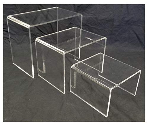 Acrylic Shoe and Merchandise Display Riser Set of 3 One Each 6x6x4 8x6x6 10x6x8 Inches