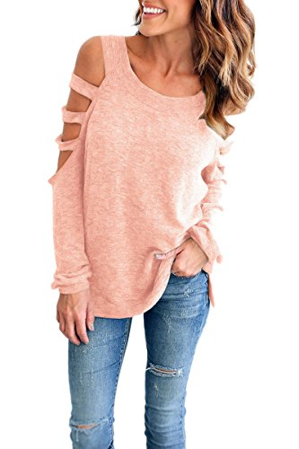 YMING Girl Hot Casual T Shirt V Neck Cutout Sleeve Loose Beach T Shirt Pink L