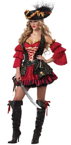 Costume Adult Caribbean (California Costumes Women's Eye Candy - Spanish Pirate Adult, Black/Red, Small)
