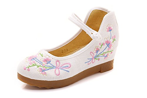 Lazutom Women Lady Vintage Chinese Style Embroidery Mary Jane Wedge Cheongsam Dress Shoes Begie JjJQLrZ