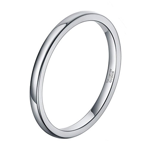 2mm Wedding Band for Women Silver Tungsten Carbide Ring Slim Plain Dome Style Comfort Fit Size 4.5 - 2mm Wedding Band Ring