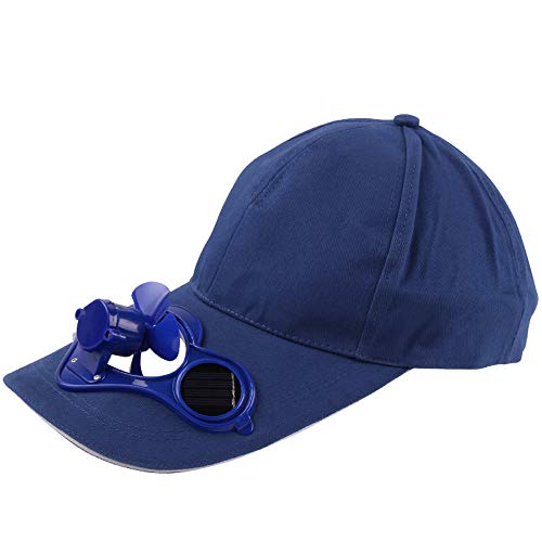 Dergo ☀Solar Powered Cap Camping Hiking Peaked Cap with Solar Powered Fan Baseball Hat Cooling Fan Cap (E)