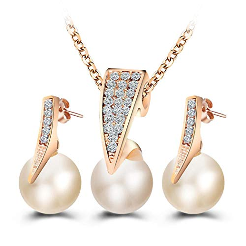 Yugiose Women Gift Jewelry Artifical Pearl Pendant Necklace and Earrings Set Jewelry Sets