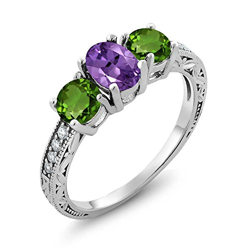 Gem Stone King 1.87 Ct Oval Purple Amethyst Green Chrome Diopside 925 Sterling Silver Ring (Size 6)