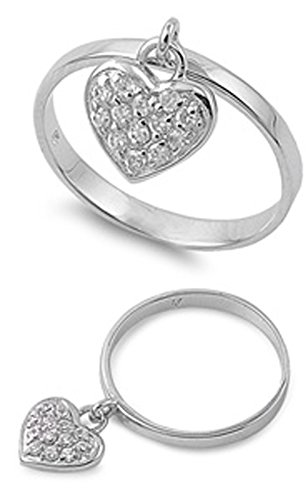 Sterling Silver Women's White CZ Dangling Heart Charm Ring Band 11mm Size 12 (Heart Dangling Ring Charm)
