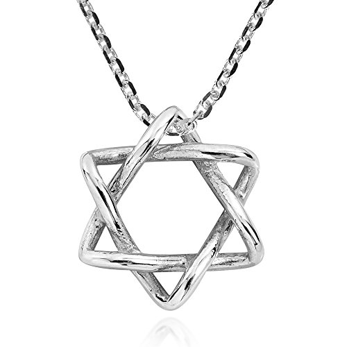 Intertwined Star of David .925 Sterling Silver Pendant Necklace (Star Pendant Angelic)