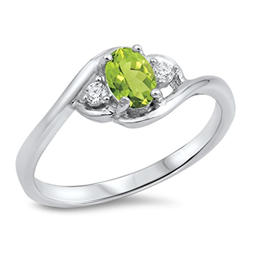 - 925 Sterling Silver Faceted Natural Genuine Green Peridot Oval Cluster Ring Size 6