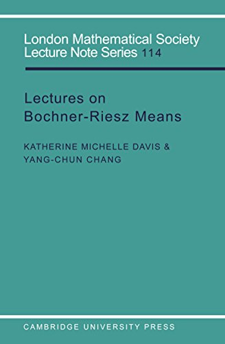 - Lectures on Bochner-Riesz Means (London Mathematical Society Lecture Note Series Book 114)