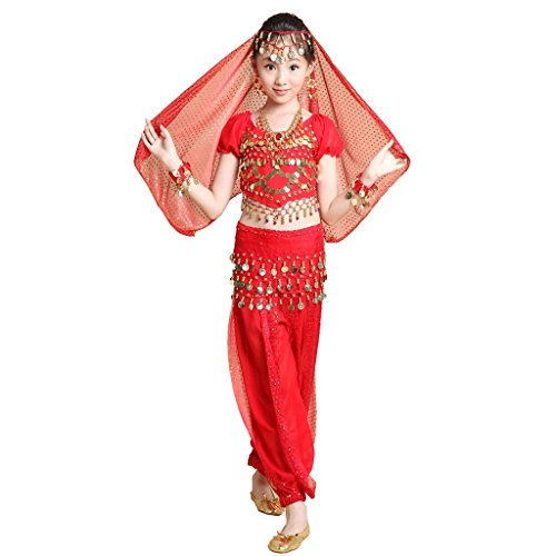 [Pilot-trade Kid 5-Piece Indian Dance Set Halloween Belly Dance Costumes Red] (Red Belly Dancer Costume)
