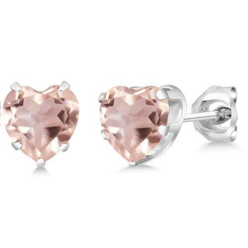 Gem Stone King Sterling Silver Rose Quartz Stud Earrings 1.40 cttw Heart Shape 6MM