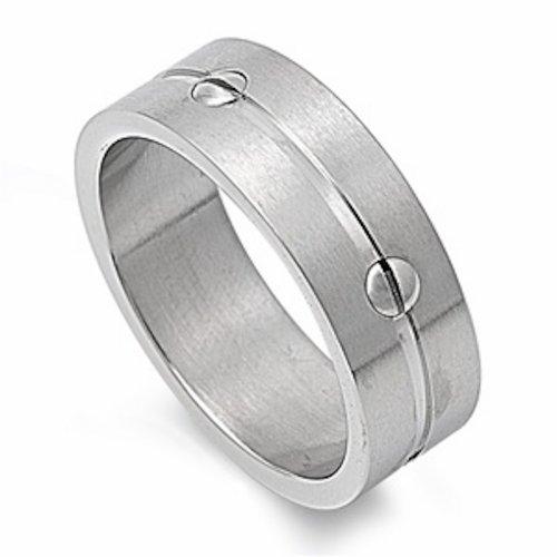 Nailhead Design - Nailhead Design Stainless Steel Ring - Size 13