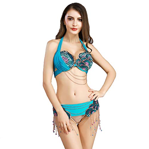 (ROYAL SMEELA Belly Dance Costume for Women Sexy Belly Dance Bra and Belt Belly Dancing Hip Belt Bra Top Bellydance Outfit Light Blue )