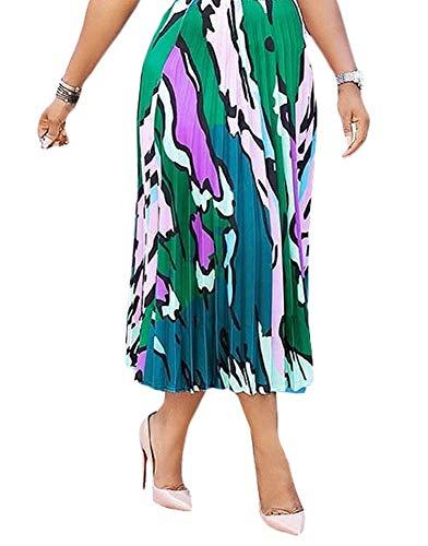 Choichic Women's High Waist Pleated Skirts - Casual Summer Multicolor Elastic Waist Swing A-Line Pleated Midi Skirt X-Large Green
