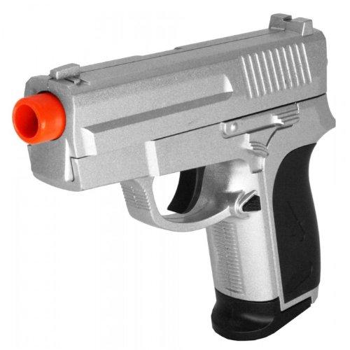 zm01 pistola de airsoft de resorte plateado con bolsillo de metal fps-205 construcción de metal de peso pesado (pistola de airsoft)