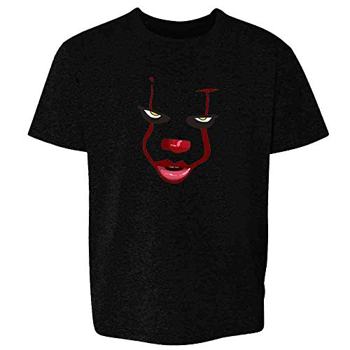 Pop Threads Clown Face Horror Halloween Scary Black L Youth Kids T-Shirt -