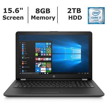 Black HP 15.6-inch HD High Performance Notebook, Intel Core i7-7500U Processor, 8GB Memory, 2TB Hard Drive, DVD Writer Drive, Wifi, Bluetooth, HD Webcam, HDMI, Windows ()