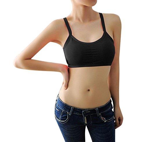 Conjuntos de Lencería,Tongshi Sujetador de Los Deportes Acolchado Mujeres Yoga Fitness Entrenamiento Estiramiento Tank Top Perfecta Racerback Negro