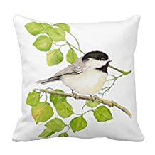 JSBStore Black Capped Chickadee Bird Pillow Case Cushion Cover Home Sofa Decorative 18 X 18 Squares Gift Choice