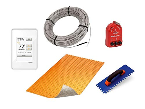 Schluter Ditra Duo Performance Floor Heating Kit -134 Square Feet- Includes Touchscreen Programmable Thermostat, Duo Membrane, Heat Cable DHEHK120134, Safe Installation Tools
