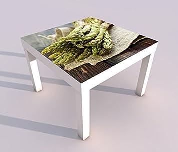design tisch mit uv druck 55x55cm gruner spargel kuche essen deutsch spieltisch lack tische bild