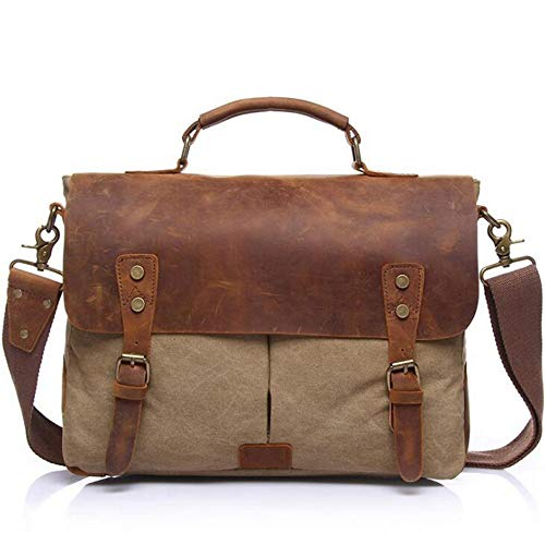 Baachang colore uomo tela Briefcase Messenger Uomo Khaki Borsa d'affari di Messenger Khaki per g1gwZrnTq