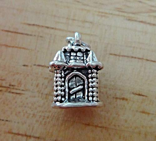 Sterling Silver 3D 15x10mm Princess Castle Charm Cute Jewelry Making Supply, Pendant, Sterling Charm, Bracelet, Beads, DIY Crafting and Other by Wholesale Charms