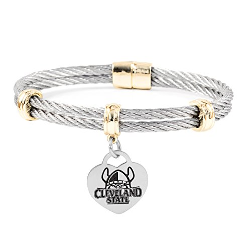 Cleveland State Vikings Charm Bracelet | Stainless Steel Magnetic Clasp Bangles