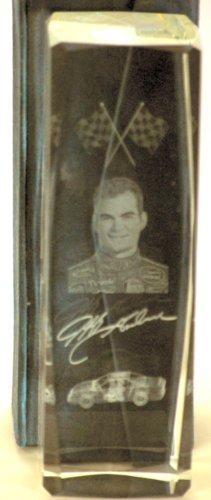 NASCAR - Jeff Gordon #24 - Lucite Block 3-D Laser Art - Chevy Monte Carlo/Picture of Gordon/Checkered Flag - Signature Facsimile - With Case - Very Rare - Limited Edition - Collectible