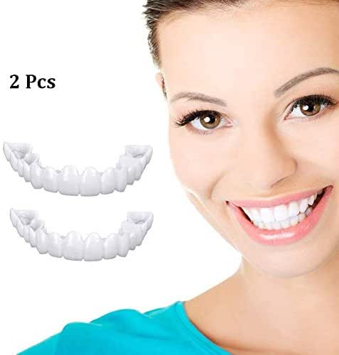 2Pcs Reusable Snap on Perfect Smile in Minutes Whitening Denture Fit Flex Cosmetic Teeth Comfortable Veneer Cover Dental Care Accessories with Box
