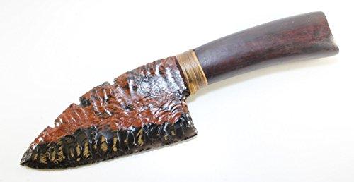 Triple Flow Triflow Obsidian Flint Knapped/Knapping Pressure Flaked Knife Blade Domed Dagger Hafted On Hardwood
