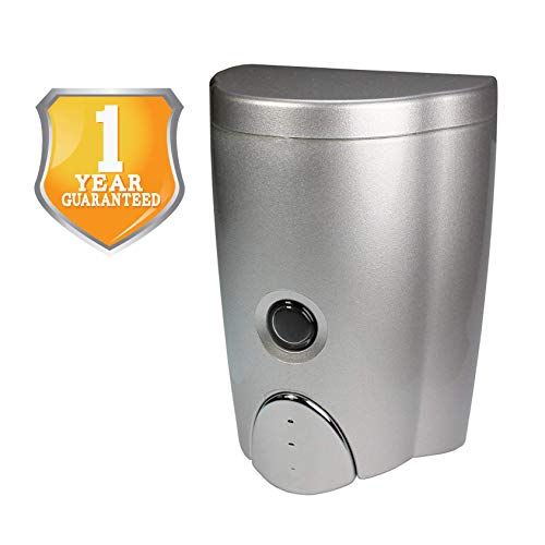 HOMEPLUZ Simply Silver Manual Wall Soap Dispenser 20 oz - Durable Water Resistant ABS Casing - Wall...