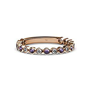 Iolite and Diamond 1.8mm Bezel Set Eternity Band 0.43 ct tw in 14K Rose Gold.size 4.5