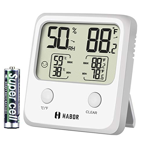 Habor Upgraded Digital Indoor Hygrometer Large LCD Screen Temperature Humidity Monitor, High Accuracy Room Thermometer Home Office Greenhouse Cellar, (3.3 X 3.2 Inch), White