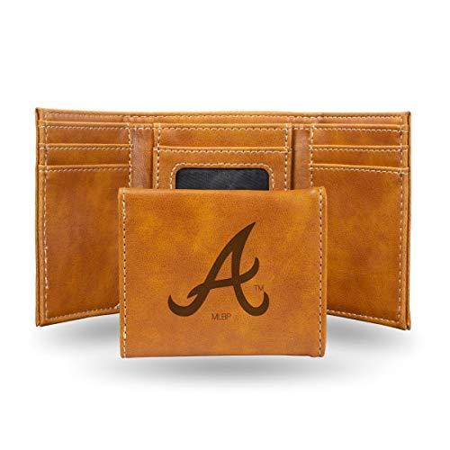 Rico Atlanta Braves MLB Laser Engraved Brown Trifold Wallet