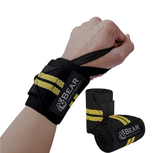 BEAR STRENGTH & CONDITIONING Wrist Wraps Gym Wrist Wraps - Wrists Wraps Band-Premium Quality 12inch Pair for Weight Lifting and Cross Fit WOD Support with - Professional Grade Elastic Thumb Loops