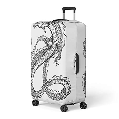(Pinbeam Luggage Cover Black Chinese Dragon Long Scaly Tail Sketch Travel Suitcase Cover Protector Baggage Case Fits 22-24 inches)