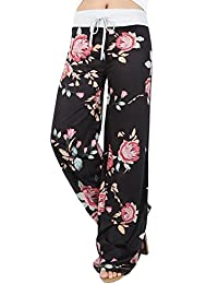 Ninimour Women's Plus Size Casual Floral Print Drawstring Wide Leg Pants Yoga