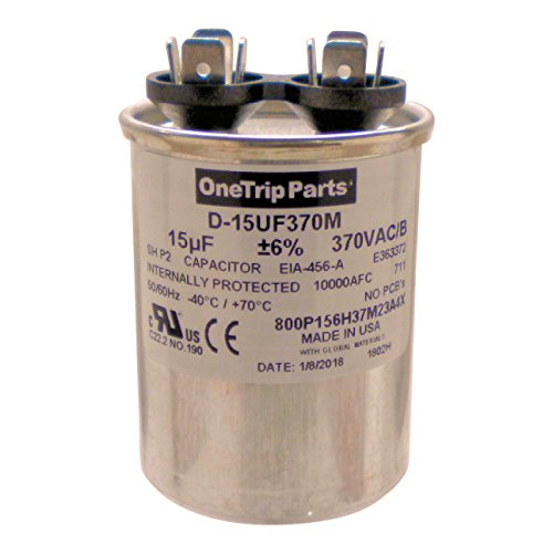 (OneTrip Parts USA Run Capacitor 15 UF - 15 MFD 370 VAC Round)
