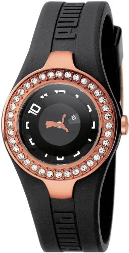 Puma Women's Dynamic Posh Time Watch XS with Black Dial Analogue Display and Gold Black Plastic Strap PU101122004
