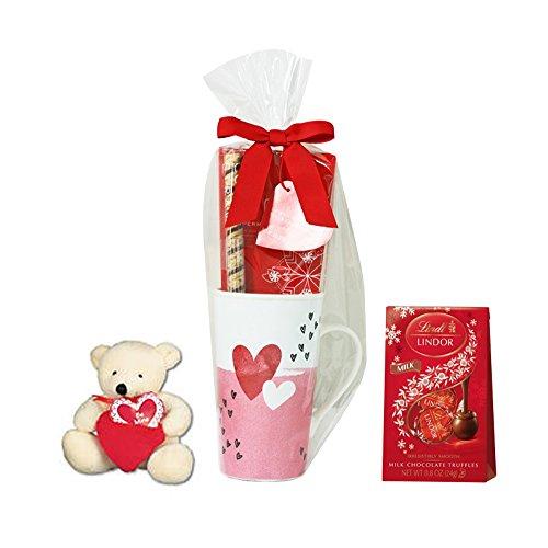 Starbucks Valentines Day Tall Starbucks Mug with Lindor Chocolate, Stuffed Bear and Hot Cocoa - Styles May (Chocolate Mug)