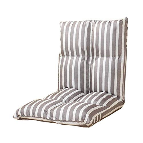 - Foldable Adjustable Floor Chair Lazy Sofa Single Backrest Meditation Gaming Couch Tatami Stripe Cotton Hemp