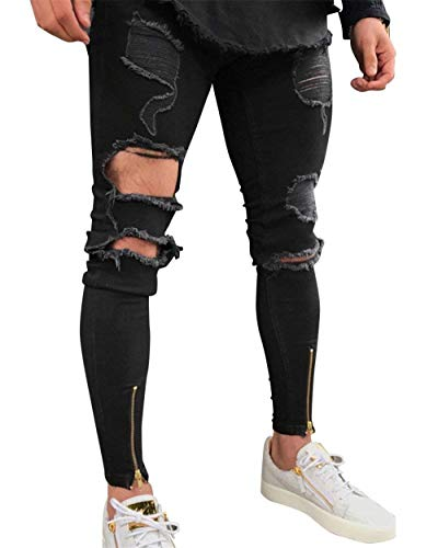 Fit con Pantalones Usados Hling Destruidos Hombre Casuales Vaqueros Mezclilla Pantalones Vaqueros Mezclilla para De Negro Slim De Joven Pantalones Mezclilla 8rqU8