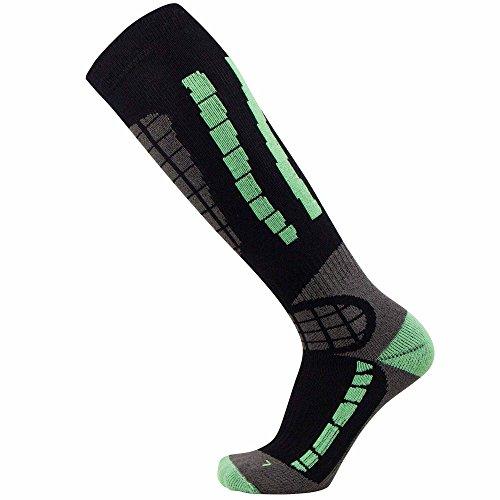 PureAthlete Ski Socks - Best Lightweight Warm Skiing Socks (Black/Mint Green, S/M) (Ski Socks Salomon)