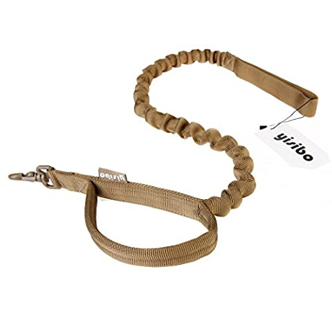 Yisibo Tactical Dog Leash Training Nylon Dog Bungee Leash with Control Handle Quick Release Pet Safety Walking and Training Leash Leads Rope Coyote